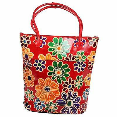 Real Leather Boho India Shantiniketan Tote Bag Tooled Painted Floral Summer Red