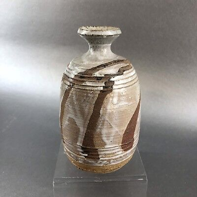 """5"""" Signed Studio Art Pottery Vase Gritty Incised Earth Brown Native Vintage"""