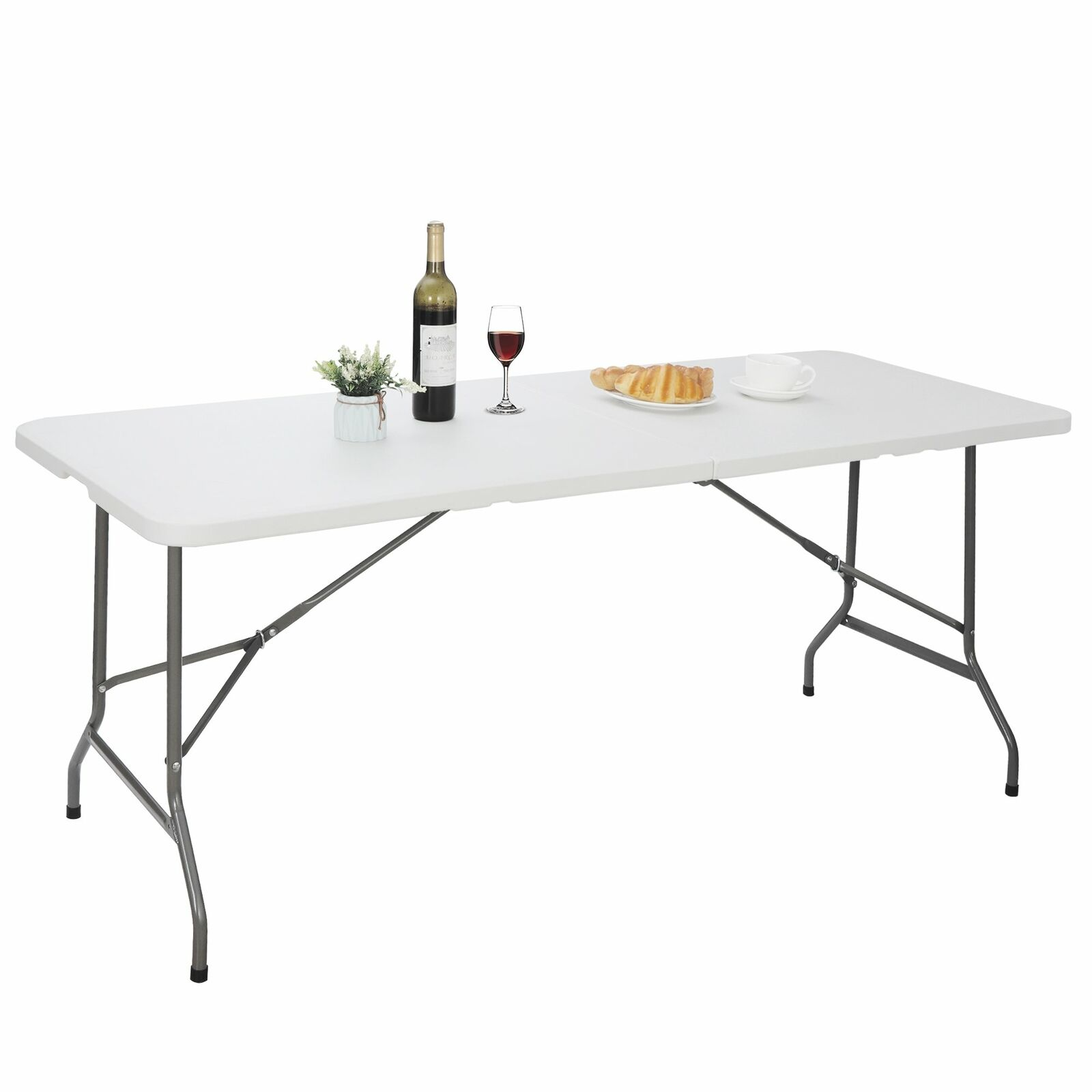 (4ft, 6ft, 8ft) Portable Folding Plastic Table Outdoor Picnic Party Table White Furniture