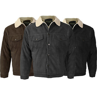 Men's Classic Button Up Premium Fur Lined Corduroy Sherpa Trucker Jacket Sherpa Corduroy Jacket
