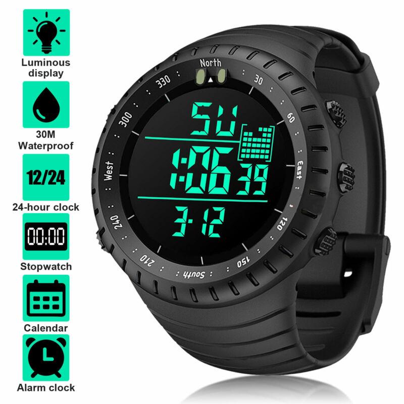 Waterproof Digital Sports Watch Military Tactical LED Backlight Wristwatch Men