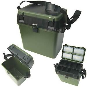 FISHING TACKLE SEAT BOX INCLUDES PADDED STRAP & SEAT PAD VERY STRONG FREEPOST!