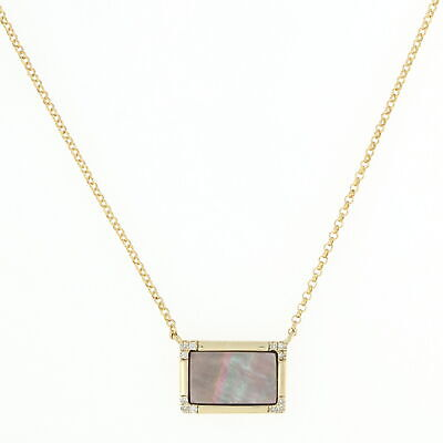 NEW Mother of Pearl & Diamond Necklace - 10k Yellow Gold Rolo Chain 10k Gold Mother Of Pearl