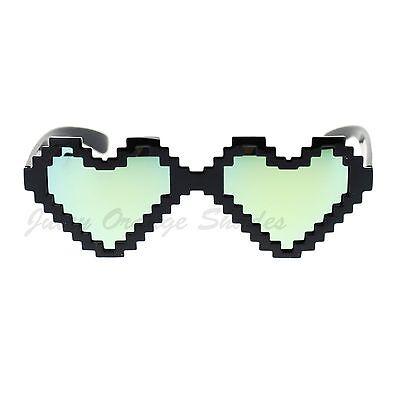 Black Pixelated Heart Shape Pixel Sunglasses Multicolor Mirror (Pixelated Heart)