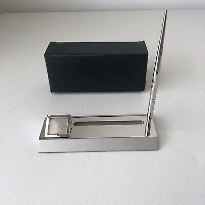 Vintage Desktop Business Card Holder With Pen Holder And Clock