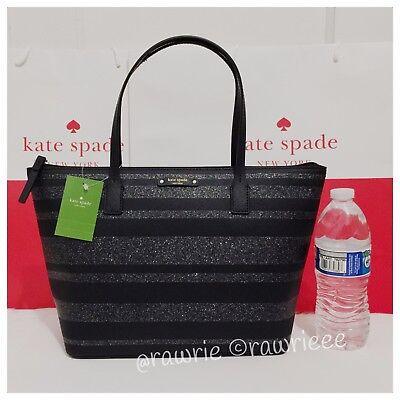 NWT Kate Spade Hani Haven Lane Black Glitter Striped Zip Small Tote - Kate Spade Stripes