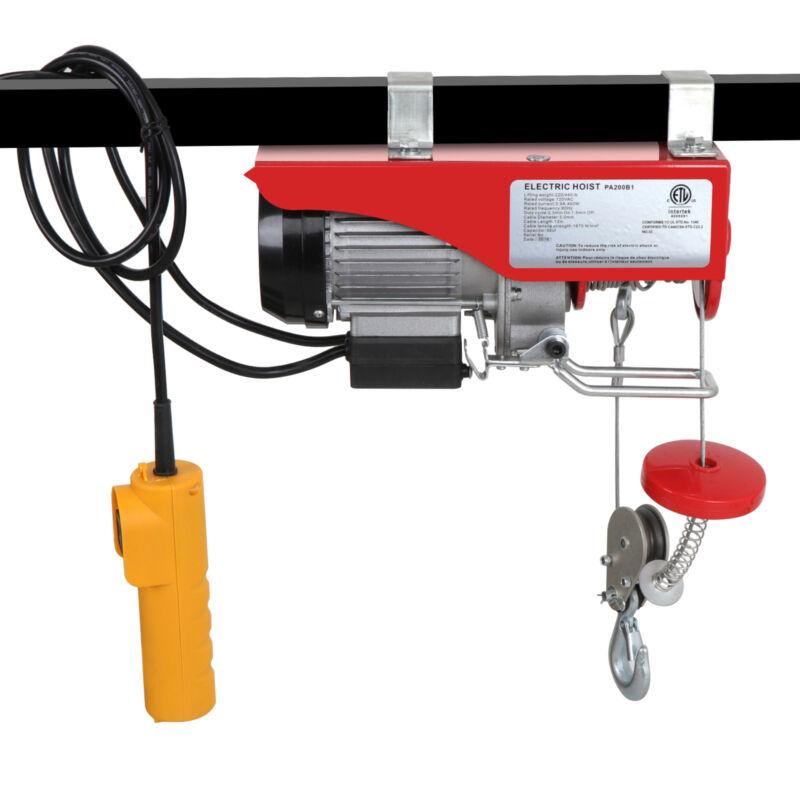 440 Lb Electric Cable Hoist Crane Lift Garage Auto Shop Winch W/Remote 110V