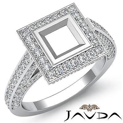 Halo Setting Diamond Engagement Ring 18k White Gold  Princess Semi Mount 1.25Ct