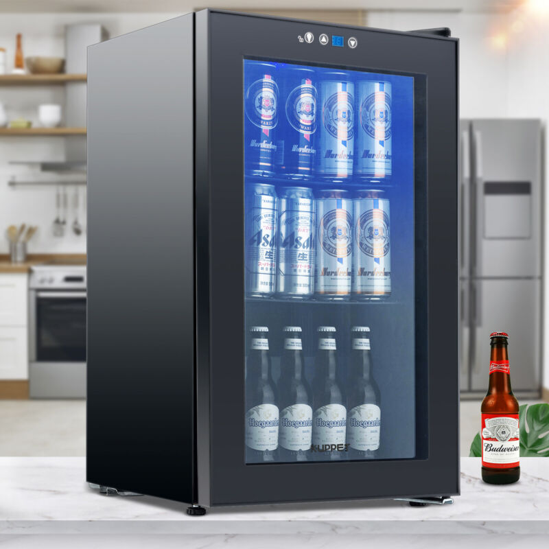 80 Can 2.3 Cu.Ft. Beverage Cooler & Refrigerator Mini Beer Fridge GlassDoor