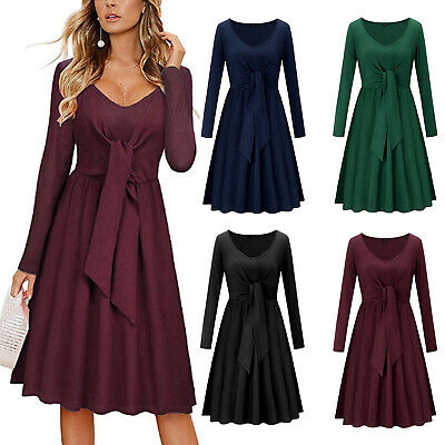 Women Ruffle Hem Dress Sexy V-neck Long Sleeve with Pockets Midi Dress