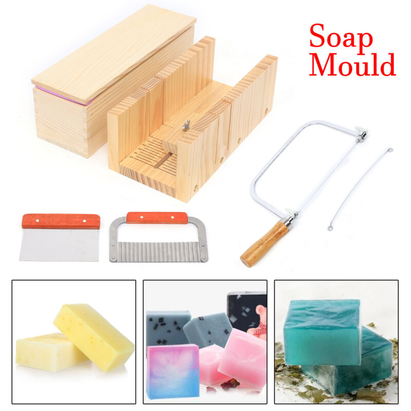 9Pcs Soap Making Tool Set Wooden Box Cutter Mold Silicone Loaf Candles Mold