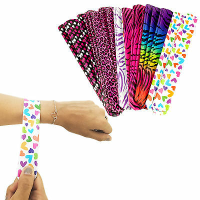 Colorful Slap On Vinyl Plastic Bracelets Neon Retro 90's Style Party Favors LOT - 90s Slap Bracelets
