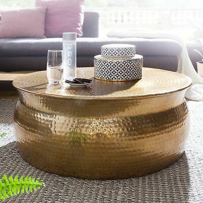 Asiatische Wohnzimmer Beistelltisch (FineBuy Couchtisch Wohnzimmertisch Sofatisch Rund Ø 75 cm Aluminium Alu Gold )