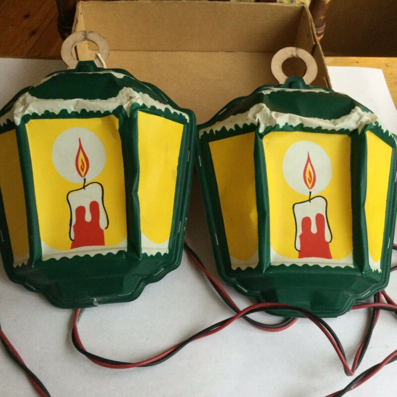 2 Vintage Noma English Lanterns Christmas Electric Lights Celluloid w Box 1940