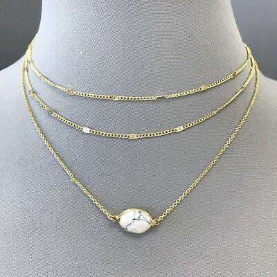 Bohemian Style Gold Finish Triple Layered Oval White Stone Charm Choker Necklace