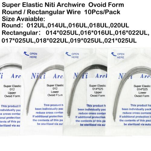 10Pcs Dental Orthodontic Super Elastic Niti Arch Wire ROUND Rectangular Ovoid