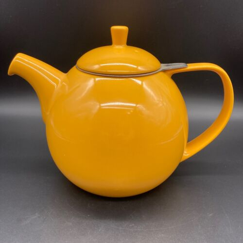 Forlife 45-Ounce Mandarin Curve Teapot w/ Stainless Steel Infuser Orange Yellow