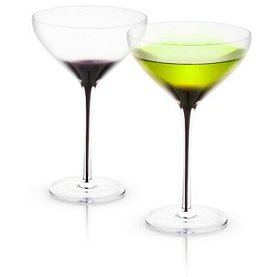 JoyJolt Black Swan Martini Glasses, 10.5 Oz Set of 2 ](Black Martini Glasses)