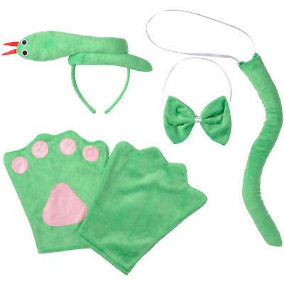 Kostüm Zubehör Set Kinder Schlange Reptil Tier 4-tlg Fasching Karneval Halloween ()