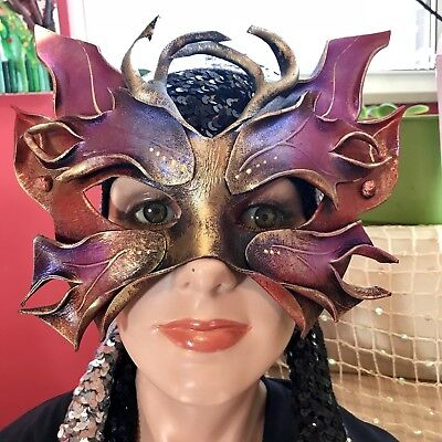 Handmade Leather Fairy Fest Masquerade Party Pink Fairy Eye Mask Cosplay Unique