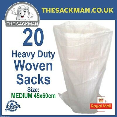 20 Woven Rubble Sacks PP Polypropylene Sacks Heavy Duty Size 45x60cm Strong Bags