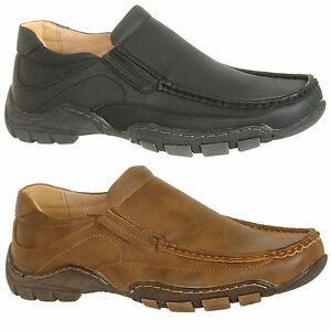 Mens-Leather-Lined-Slip-On-Leisure-Shoes-in-Black-or-Brown-Size-6-7-8-9-10-11-12