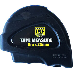 Tape Measure 8m x 25mm Heavy Duty Measuring with Rugged Case Ever Tuff Metric