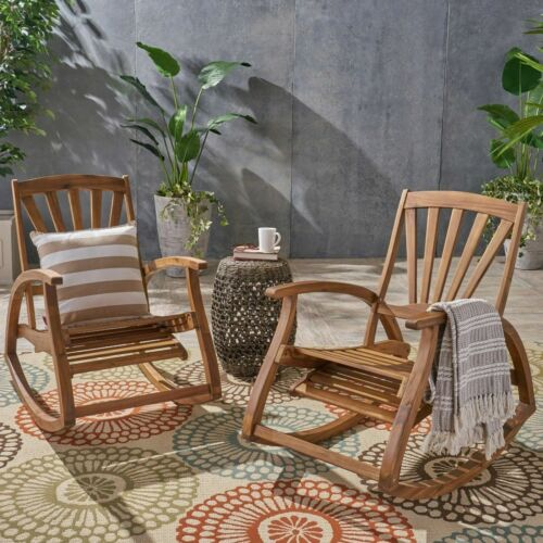 Lee Outdoor Rustic Acacia Wood Recliner Rocking Chairs (Set of 2) Home & Garden