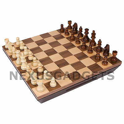 Chess 16 INCH Board Game Set BORDERLESS Wood Wooden Inlaid Lift Up Pieces Tray - Chess Pieces Set Up