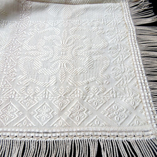 Antique Woven Silk Jacquard Bedspread Coverlet Beige Thick 94x96