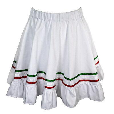 Girls Mexican Traditional Cinco De Mayo Costume Fiesta Skirt White Child Kids
