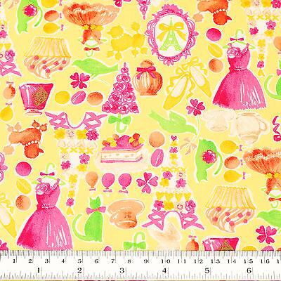 Japanese Cotton Fabric FQ Eiffel Heart Macaron Cake Dog Cat Bird Dress Shoes S10