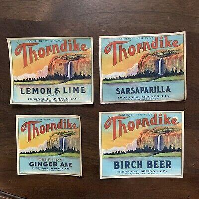 4 - Thorndike Springs Co. Of Thorndike Massachusetts Vintage Soda Labels - New
