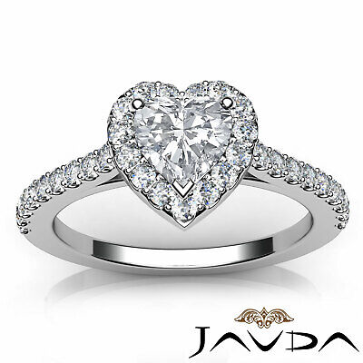 Halo French Pave Set Heart Diamond Engagement Wedding Ring GIA F Color VVS2 1Ct 8