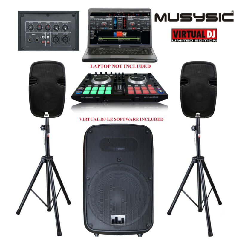 """Complete DJ System 2000w MIDI Controller, Powered 15"""" Base Sub, 2x10"""" Speakers"""