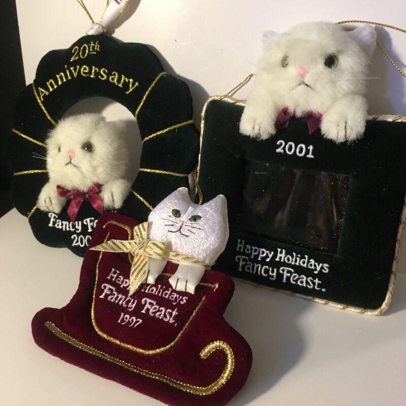 Lot 3 Vintage Happy Holidays Fancy Feast Cat Xmas Ornaments 1997, 2001, 2002