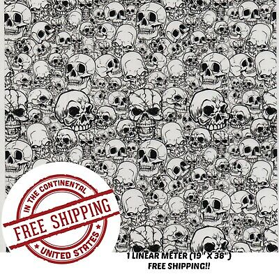 Hydrographic Water Transfer Hydrodipping Film Hydro Dip White Skull 1m 19 X 38