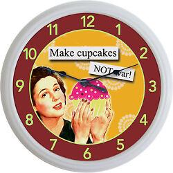 Cupcake Baker Bakery Kitchen Wall Clock Make Cupcakes...Not War New 10