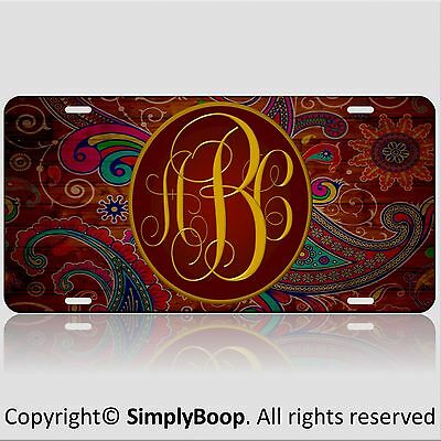 - Paisley Personalized Your Initials Monogrammed Vanity License Plate Car Auto Tag