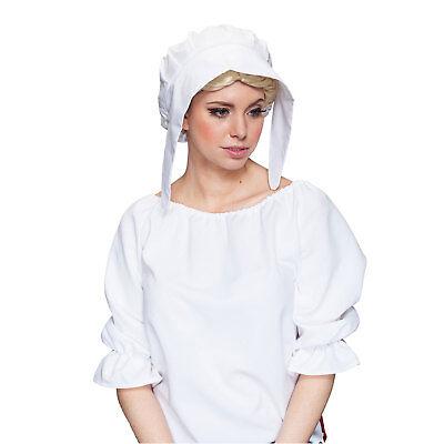 Haube Magd Mittelalter Schute Mütze für Damen weiß - Alte Dame Kostüm Zubehör