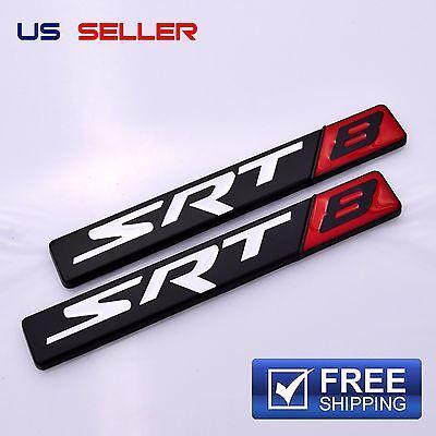 SRT8 Logo 3D Emblem Badge Sticker Decal Metal Chrome EE04 - 2PCS