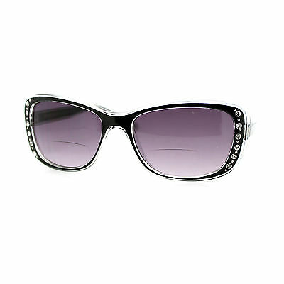 Womens Bifocal Reading Lens Sunglasses Rhinestone Rectangular Frame