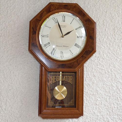 SEIKO DROP OCTAGON SCHOOL HOUSE STYLE REGULATOR WALL CLOCK DUAL CHIME