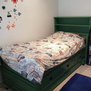 Captains Bed with elevated underbed drawers, trundle, bookshelf Watsonia Banyule Area Preview