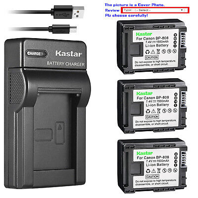 Kastar Battery Slim Charger for Canon BP-808 CG-800 & Canon FS20 FS21 Camcorder