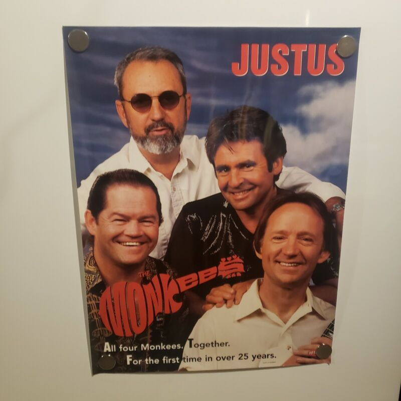 THE MONKEES JUSTUS Rhino Promo Poster 1996 Dolenz Davy Jones Tork Nez Nesmith