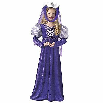 Girl's Child Renaissance Queen Princess Purple Costume Dress Veil Juliet S M L](Queen Costume Child)