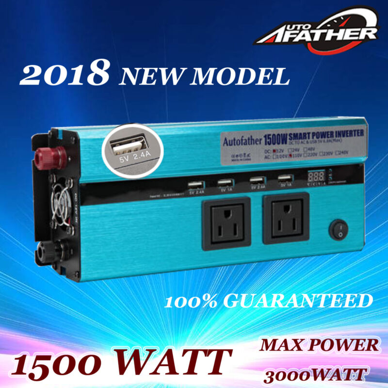 1500W 3000 Watt Peak Power Inverter DC 12V to AC 110V Car, Truck, RV,Pickup,4WD