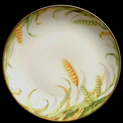 """RARE Antique Hand Painted Rosenthal Wheat 8 3/4"""" Cabinet Plate"""