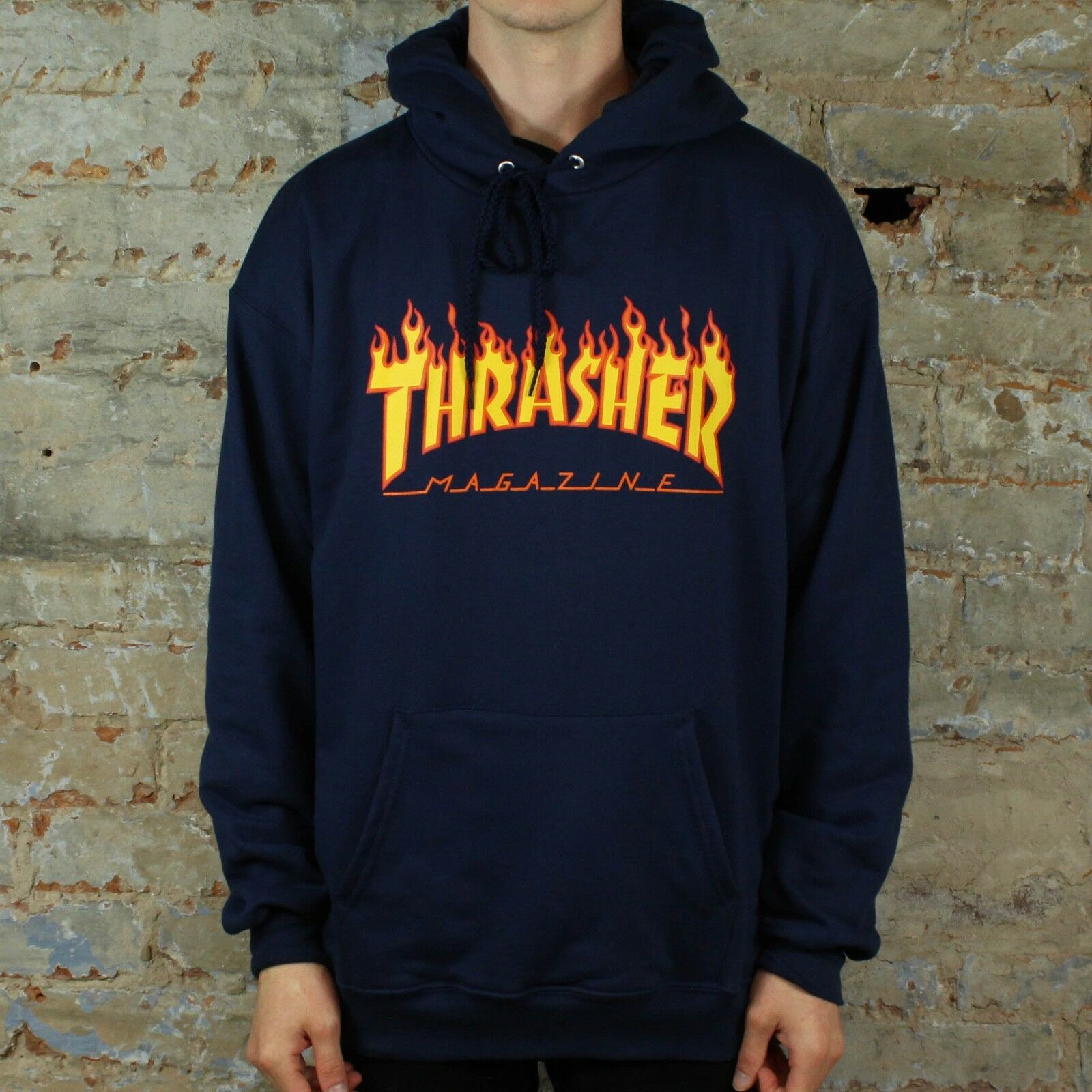 bda3b947d7fa Details about Thrasher Flame Logo Pullover Hooded Sweatshirt – Navy in size  S
